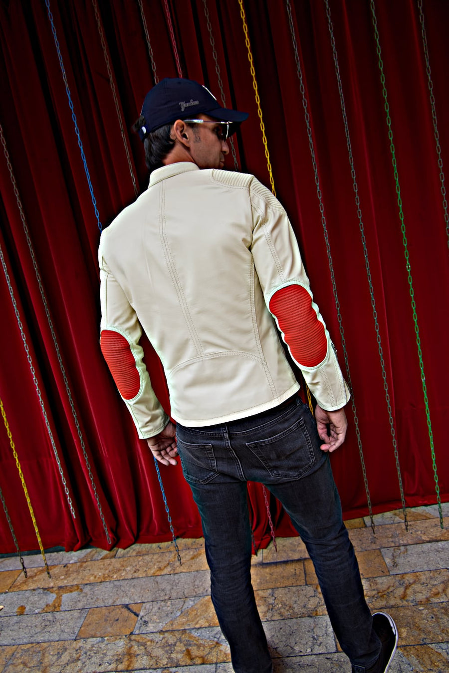 FALLOUT Leather Jacket  - Sport Cafe Racer in Ivory & Orange
