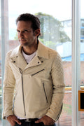 MONACO Leather Jacket  Calf -  Ivory Color Quilted