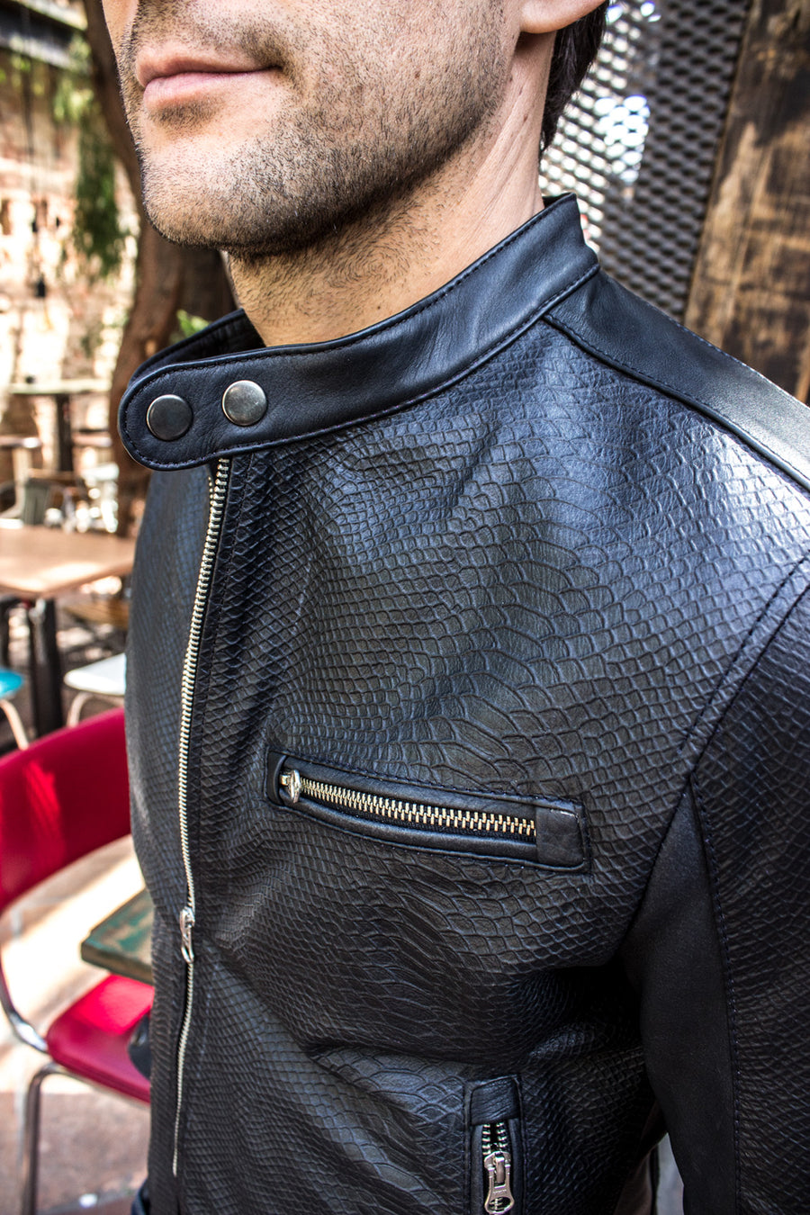 PITON Leather Jacket Black Embossed Snake Limited -