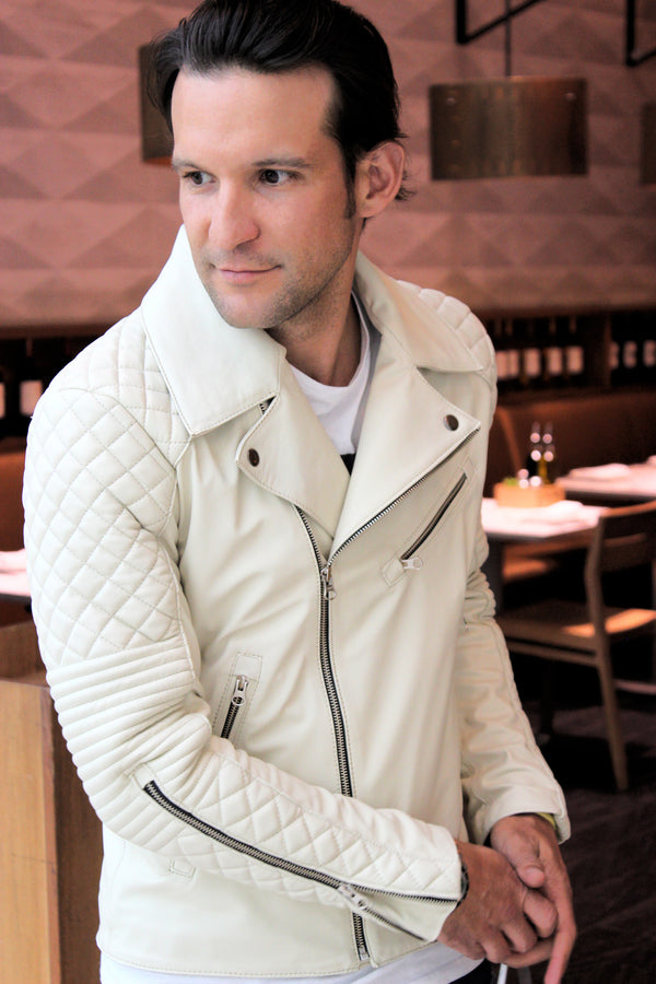 MONACO Leather Jacket in Medium-weight Calf Leather Ivory Color