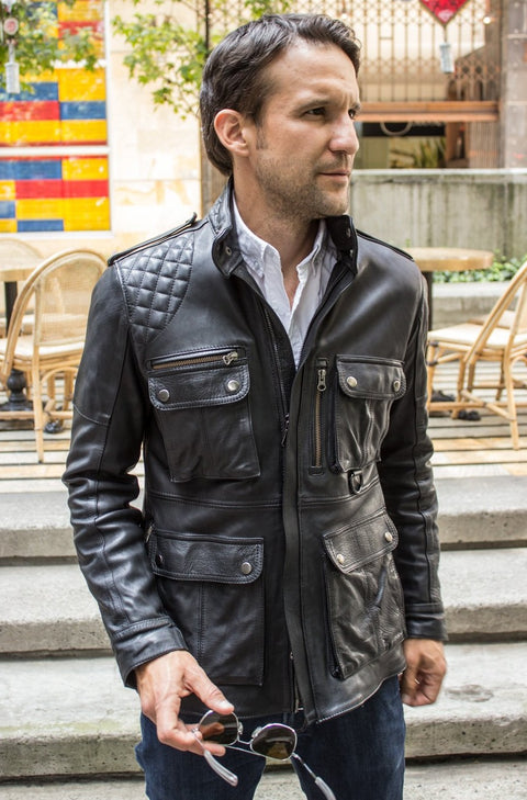 FIELD FR Leather Jacket in Calfskin - Black  - Mid-Length