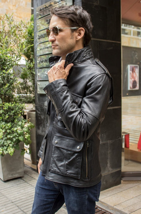 FR Leather Jacket in Calfskin - Black  - Mid-Length