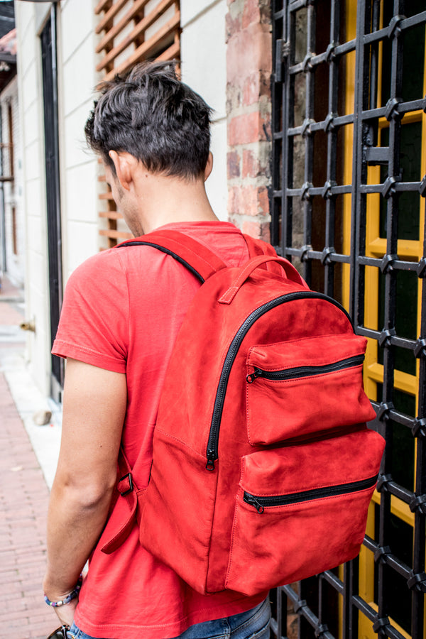 SOUTHMOUNT Suede Leather Bag Backpack in Red