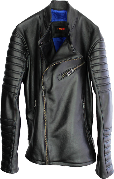 DONOVAN Mens Leather Biker Jacket quilted sleeves in Black
