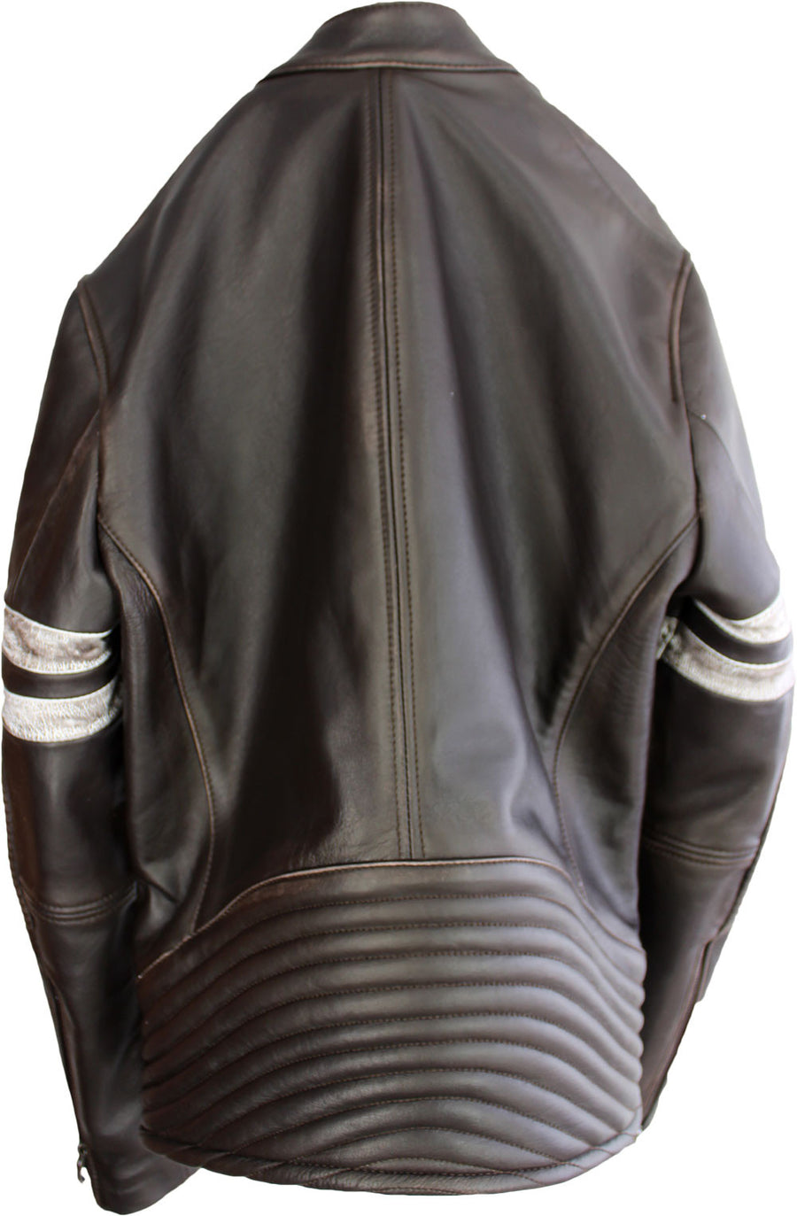 MUSTANG '18 Leather Jacket Distressed Brown - Cafe Racer Stripes - PDCollection Leatherwear - Online Shop