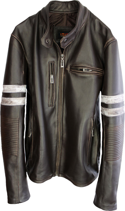 MUSTANG '18 Leather Jacket Distressed Brown - Cafe Racer