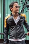 LUCKY LUKE Futuristic Leather Jacket in Black & Yellow Quilted