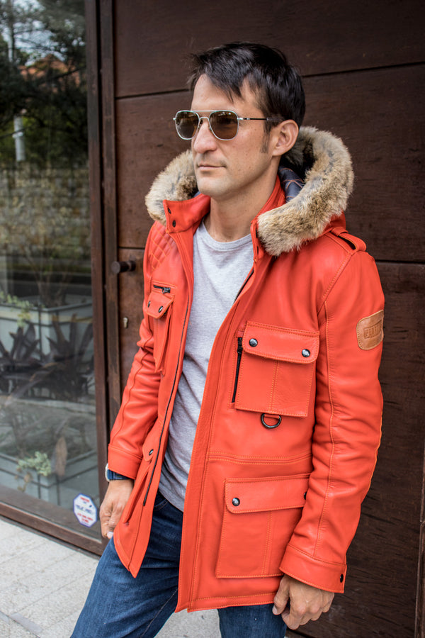 FIELD FR Leather Jacket in Calfskin - Orange LIMITED ED. - Mid-Length