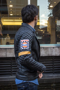 REBEL CAFE Leather Jacket BLACK Quilted GOLD stripes & Gulf Ed.