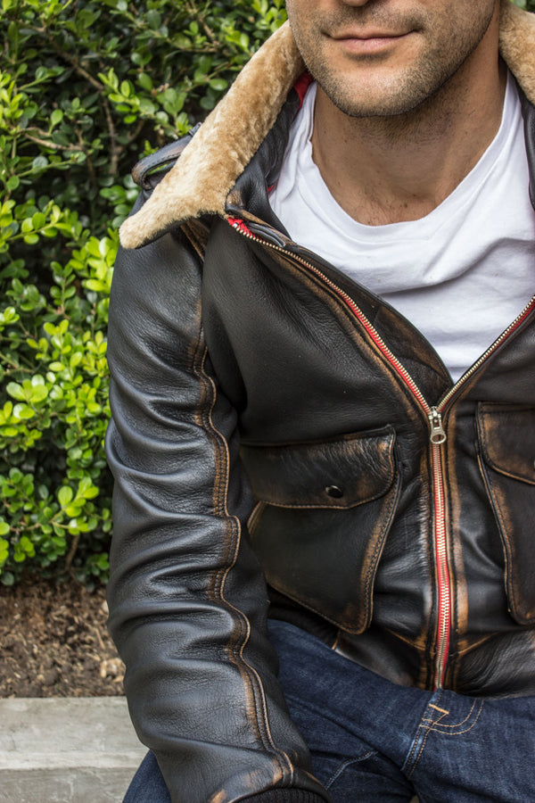 TOPD Pilot Leather Jacket Shearling Collar Distressed Brown