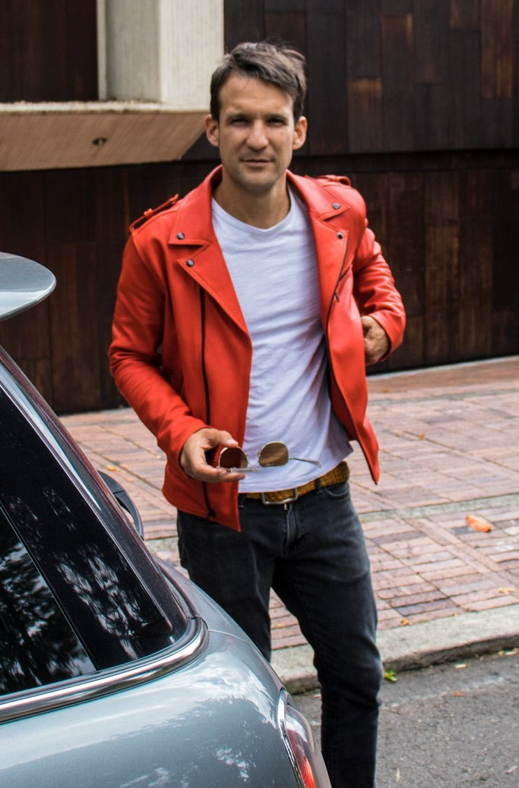 Rebel II Vintage Leather Jacket in Luxurious Orange - Limited Edition