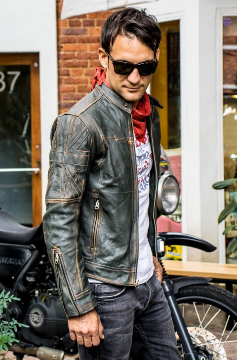 UNION JACK Leather Jacket in Green & Green British Flag Cafe Racer- Limited Ed