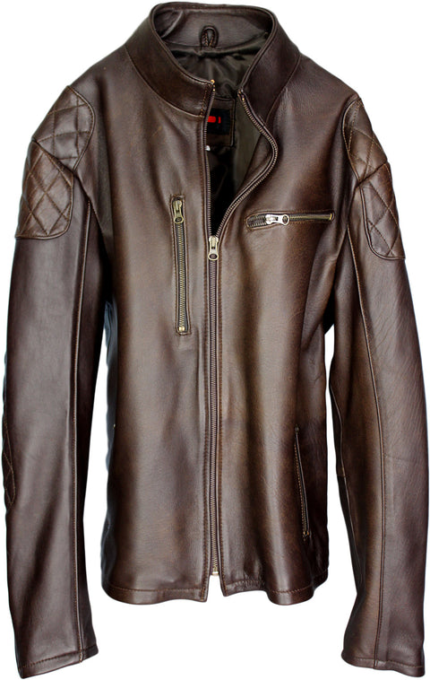 TRIUMPH Leather Jacket Cafe Racer Lambskin Brown