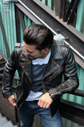 Rebel Vintage Leather Jacket Aged Napa Leather Distressed Black