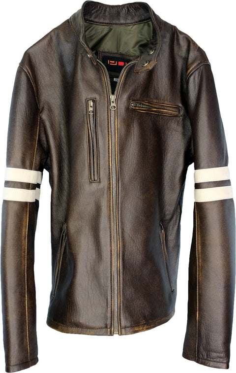 MUSTANG Leather Jacket Distressed Brown - Cafe Racer Stripes