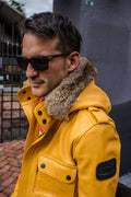 FIELD FR Leather Jacket in Calfskin - Yellow LIMITED ED. - Mid-Length