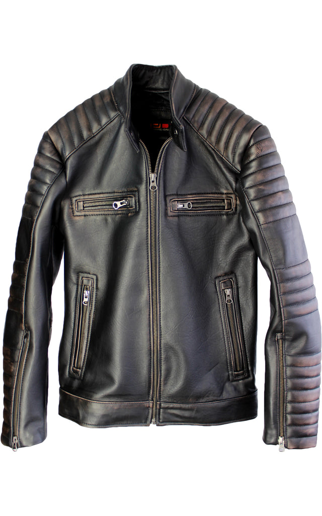 R100 EVO Leather Jacket Cafe Racer Lamb Antique Distressed Black Padded