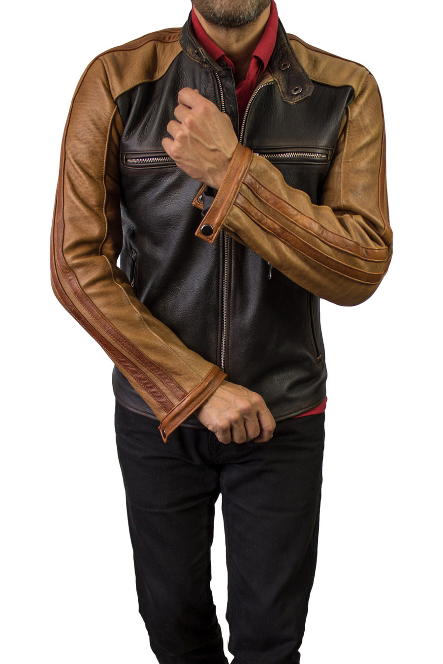 CARRERA Leather Jacket Cafe Racer Stripes Motosport  - Brown