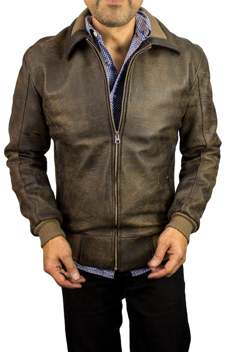 VERMONT DT Leather Jacket Bomber  - Distressed Brown