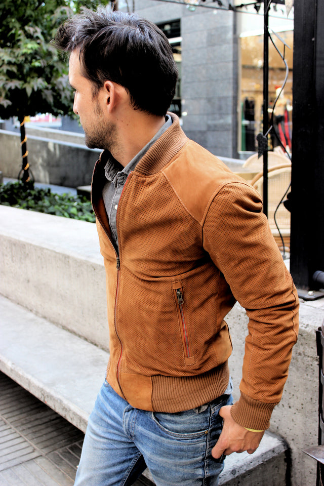 ITALO Bomber Jacket in Punctured Suede - Camel -