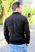 ITALO Bomber Jacket in Perforated Suede - Black