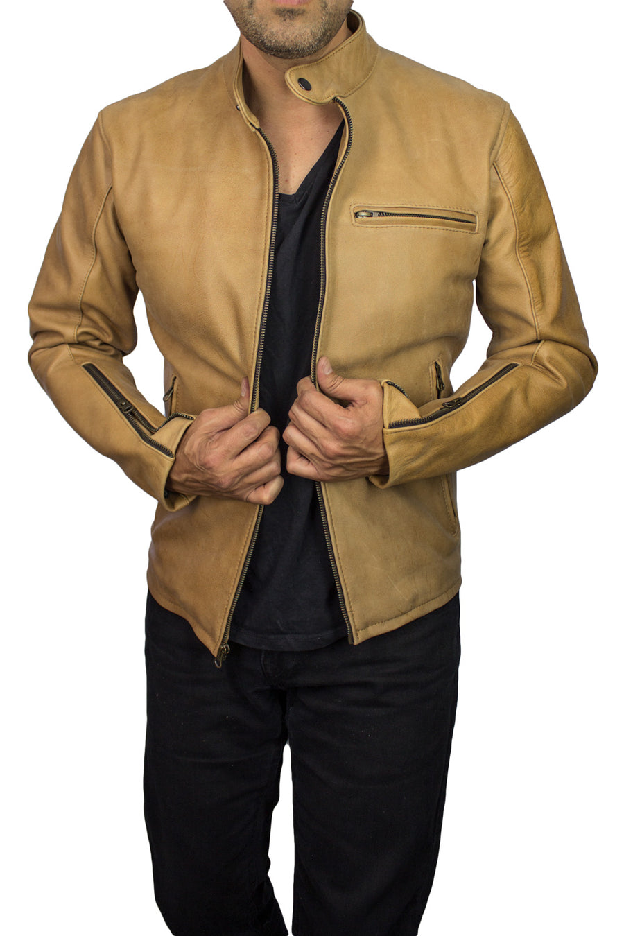 R79 Leather Jacket Tan Vintage Fit - Motorcycle Cafe Racer - PDCollection Leatherwear - Online Shop