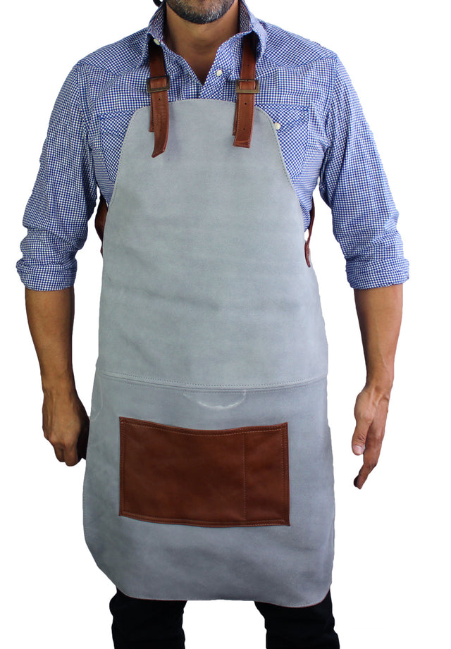 Wok Thick Suede Apron with Leather Straps - Light Gray and Brown