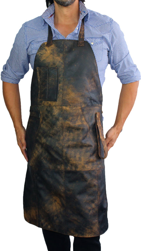 10W1UP ULTRA Leather Apron Distressed Brown - Custom-Made Personalized Name Initials