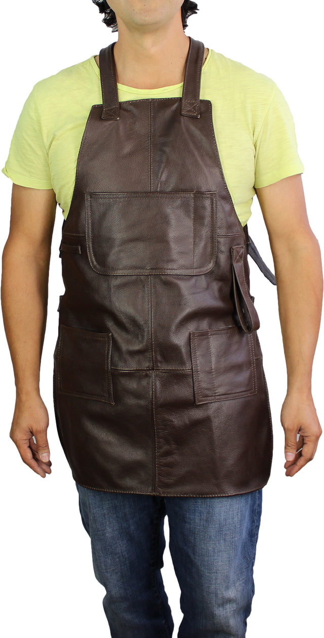 MULTIPOCKETS Leather Apron Brown - High Protection - Custom-Made Name Initials