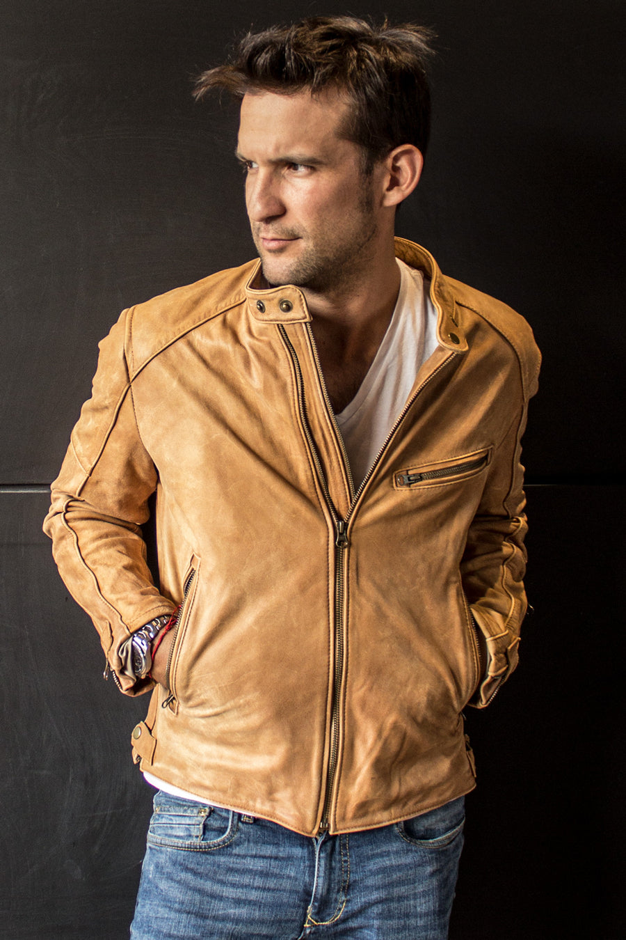 R79 SOL Leather Jacket Pre-Washed tan Leather  - Cafe Racer