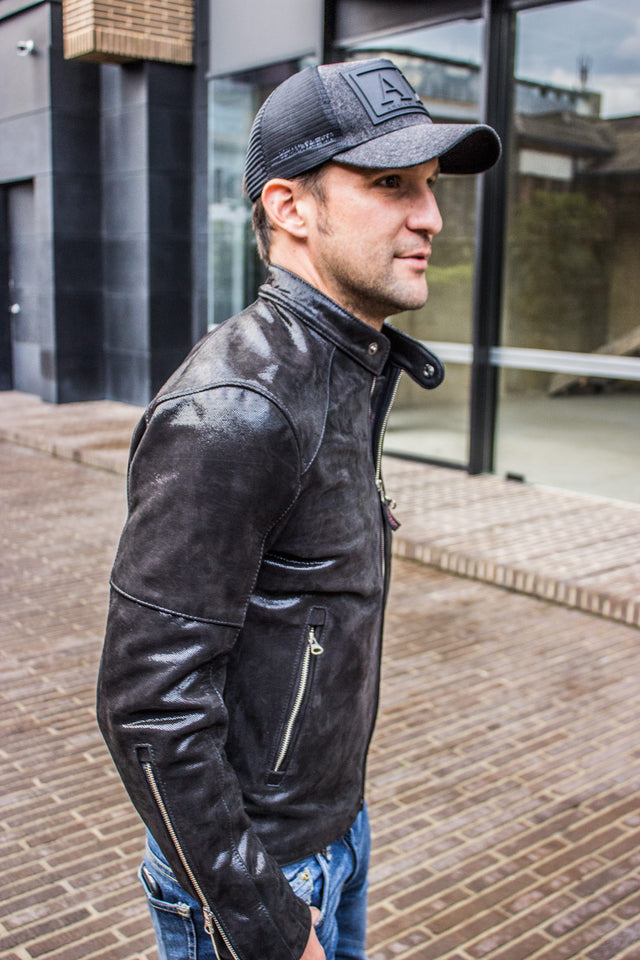 R79 VEGAS Leather Jacket Shine Black  - Music