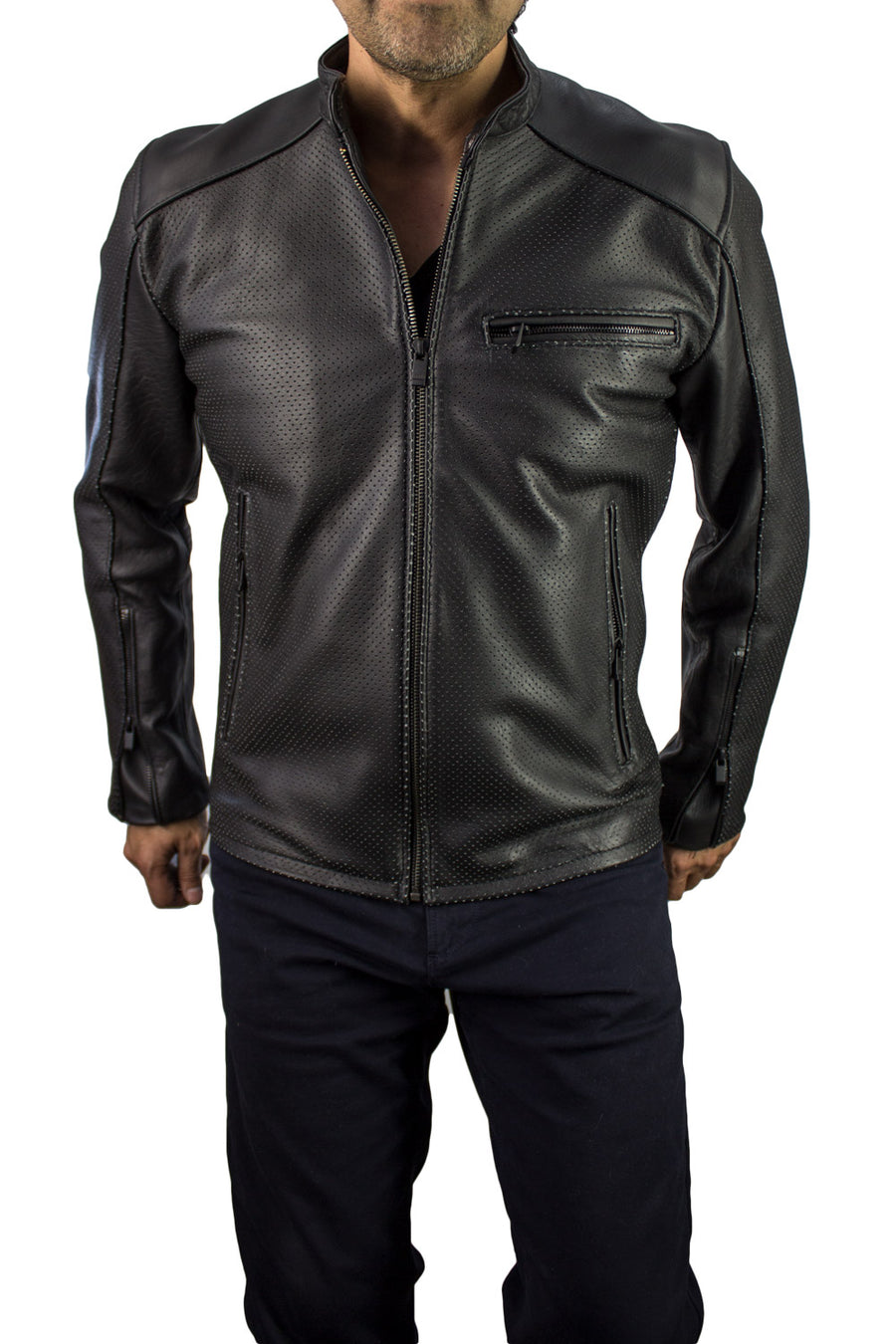MOTOP Leather Jacket  - Black Perforated & Black Hardware