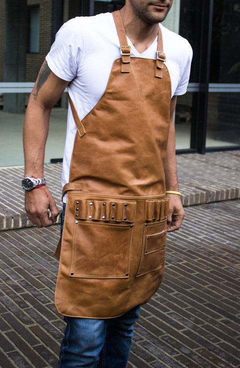 2S Leather Apron in Genuine Leather Camel  Custom-Made Name Initials - Baristas BBQ Kitchen Artist