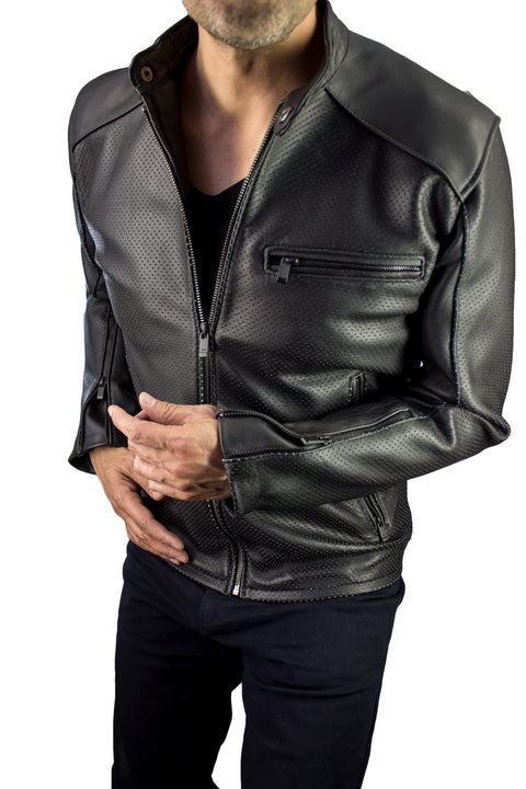 MOTOP Leather Jacket  - Black Perforated -