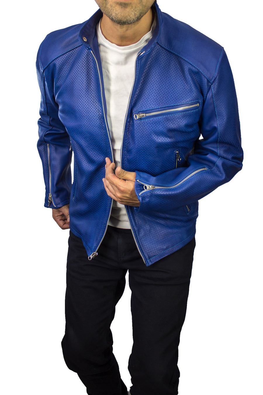MOTOP Leather Jacket  - Blue Perforated -