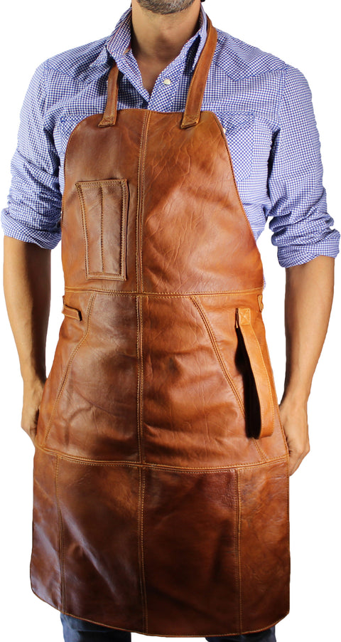 Leather Apron in - Honey Brown Leather Custom-made BBQ Restaurant fashion Name Initials