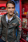 UNION JACK Leather Jacket in washed green British Flag Cafe Racer & Stripes - Limited Ed