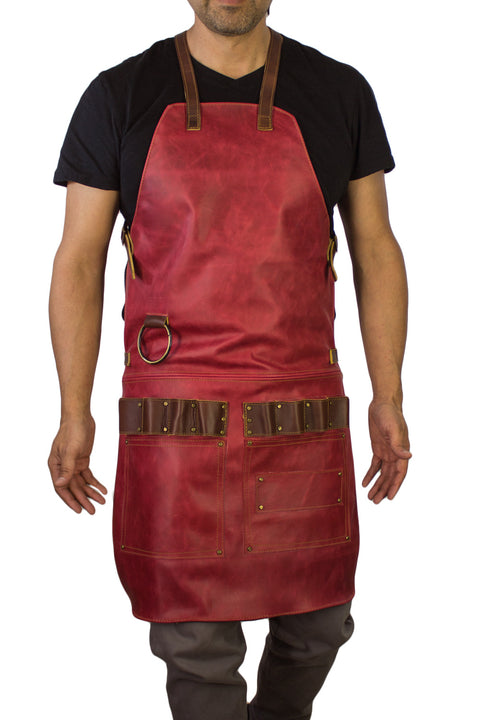 2S Leather Luxury Apron Genuine Leather Red  - Artists, Baristas, BBQ Kitchen Restaurant