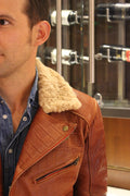 POLO Embossed Leather Jacket Amber Reptile Limited- Shearling