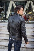 STONE Leather Jacket - Double zip in  Washed Black