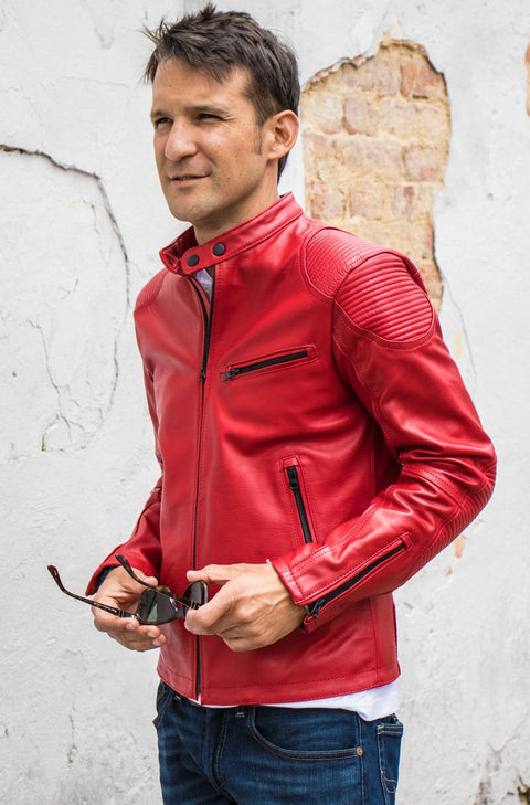 FALLOUT Leather Jacket  Red   - Cafe Racer