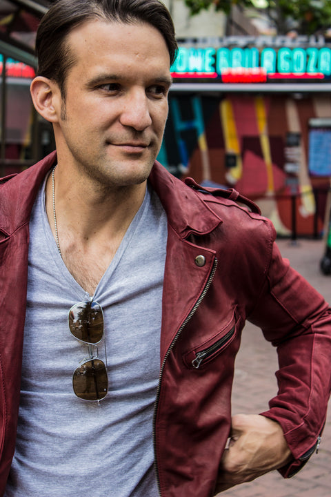 MELBOURNE LT Lightweight Leather Jacket - Special Edition - Burgundy -