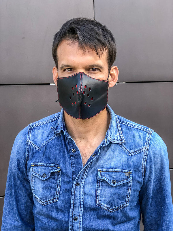 Leather Mask luxury Black & Red - Men & Women