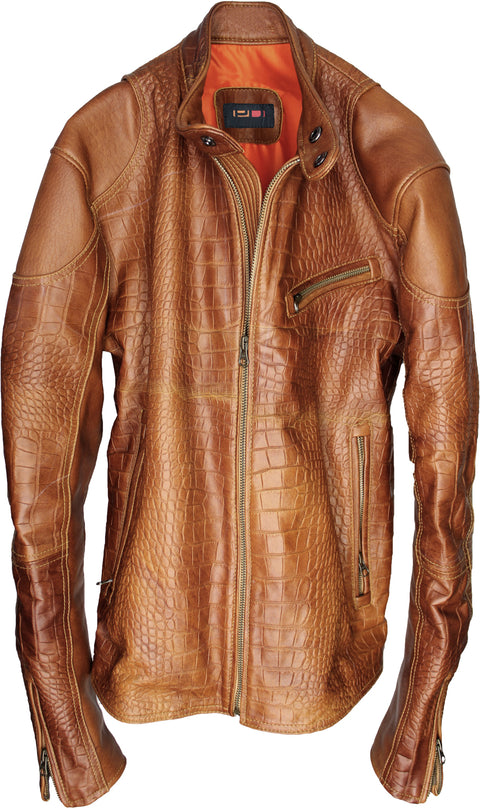 PASADENA Embossed Leather Jacket Amber Reptile Limited -