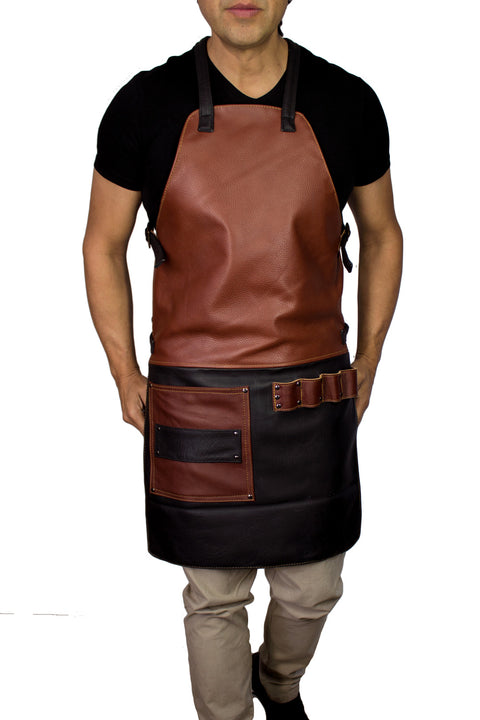 2S Leather Luxury Apron Genuine Leather Black & Brown  - Artists, Baristas, BBQ Kitchen Restaurant