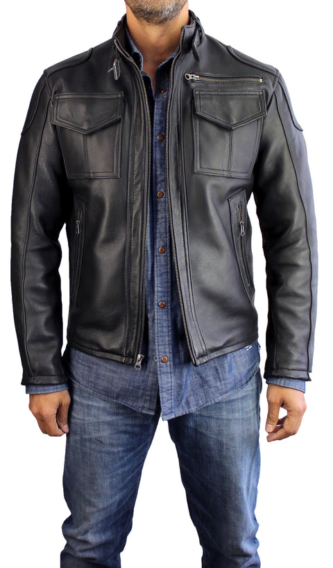 TRUE Leather Jacket Cafe Racer - In Black