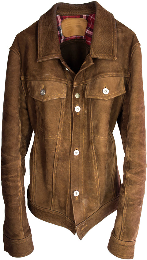 MCDAVE Denim Style Jacket in Nubuck Suede - Mocha  -