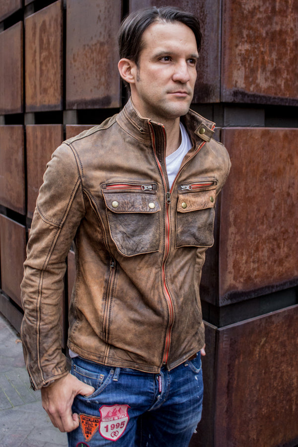STONE Leather Jacket - Double zip in  Stone Vintage Washed Distressed Color