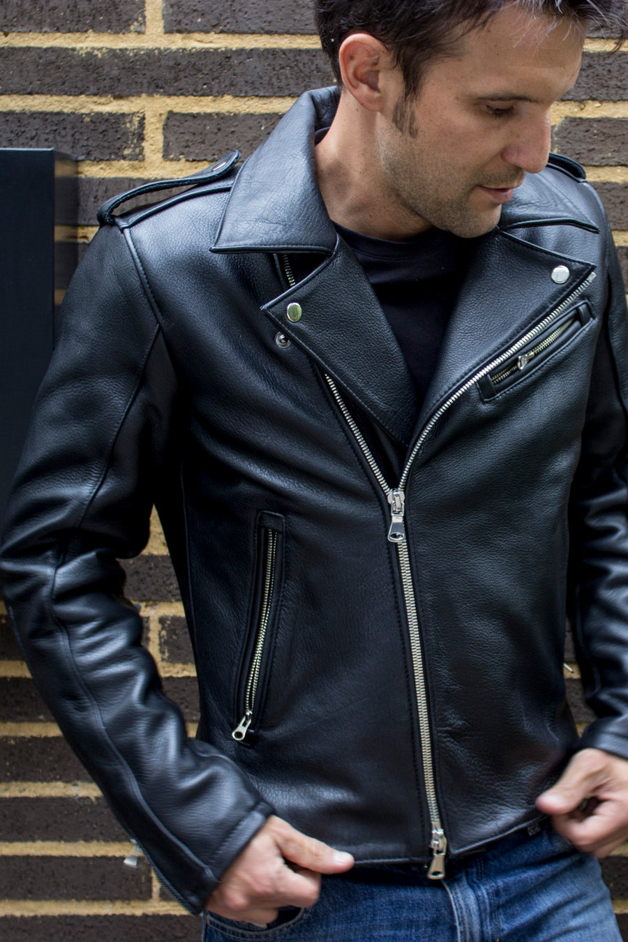 Rebel UKR Classic Biker Leather Jacket Leather - Black