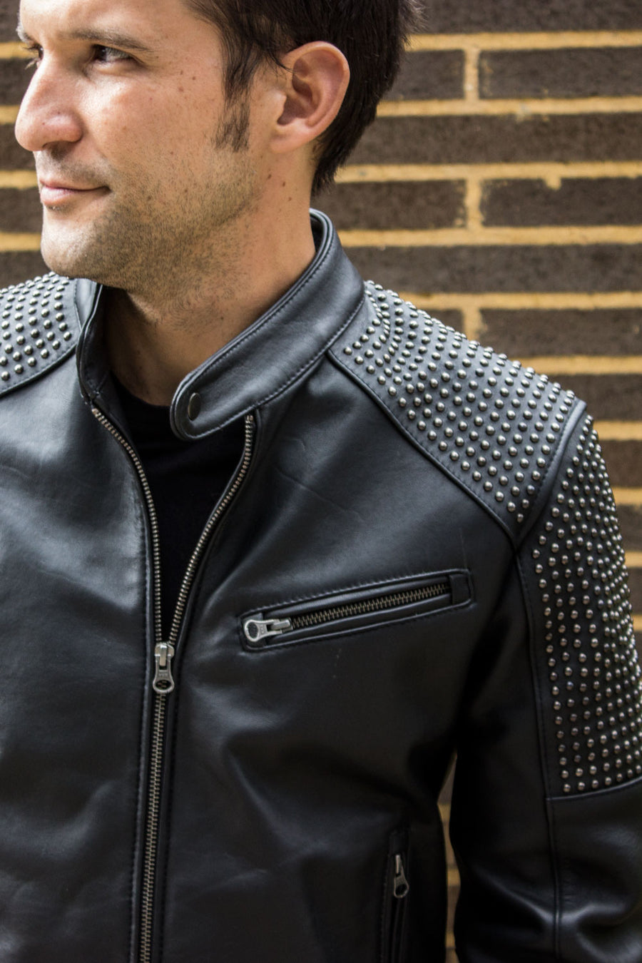 R79 R&R Leather Jacket Mate Black  - Studs